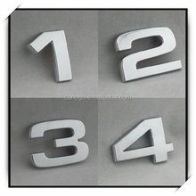 Decorative durable cheap car stickers/plastic adhesive room number/chrome silver numbers