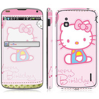 Cute Kitty Vinyl Screen Protector For LG Series, for E960 sticker.