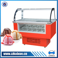 gelato display freezer showcase with curved glass