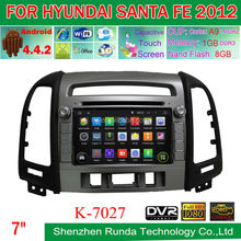 Android 4.4 Car DVD for Hyundai SANTA FE 2012 with wifi 3G GPS BT Radio Mirror Link and DVR, Trade Assurance Supplier