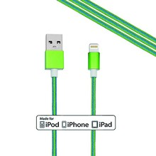 100% MFI certified 8 pin connector green and blue nylon braided usb cable for iphone, 1M usb 2.0 cable for iphone 6