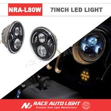 Lifetime Warranty 2015 Upgrade IP68 High performance 7inch LED Round Angel Eyes Headlights 80W with Hi/lo Beam