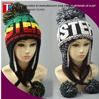 Stock Fashion Winter Ski Hat Women Earflap Pom Pom Hat Cotton Lining Trapper Hat