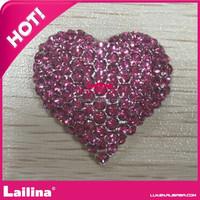 Light pink Heart Valentine Pendant with Rhinestones