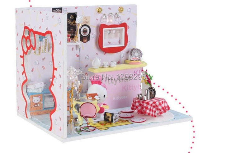 3d Hello Kitty Diy Doll House Hand Made Wooden House With