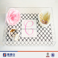 High Quality Hotel& Restaurant Transparent Acrylic Serving Tray with Logo Printing Acrylic Decorative Tray for Wedding