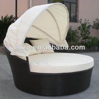 garden outdoor PE rattan/wicker furniture sun bed with sunshades