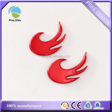 plastic fire car sticker, plastic red plating car emblem