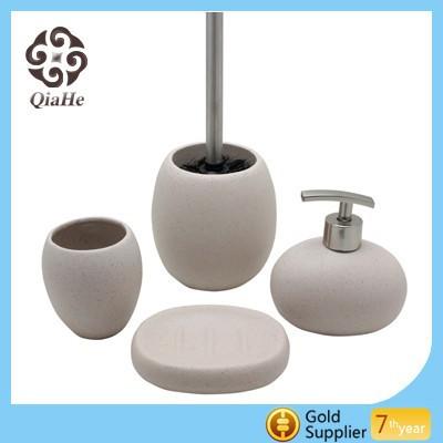Beige sand bathroom set buy beige sand bathroom set for Beige bathroom accessories set