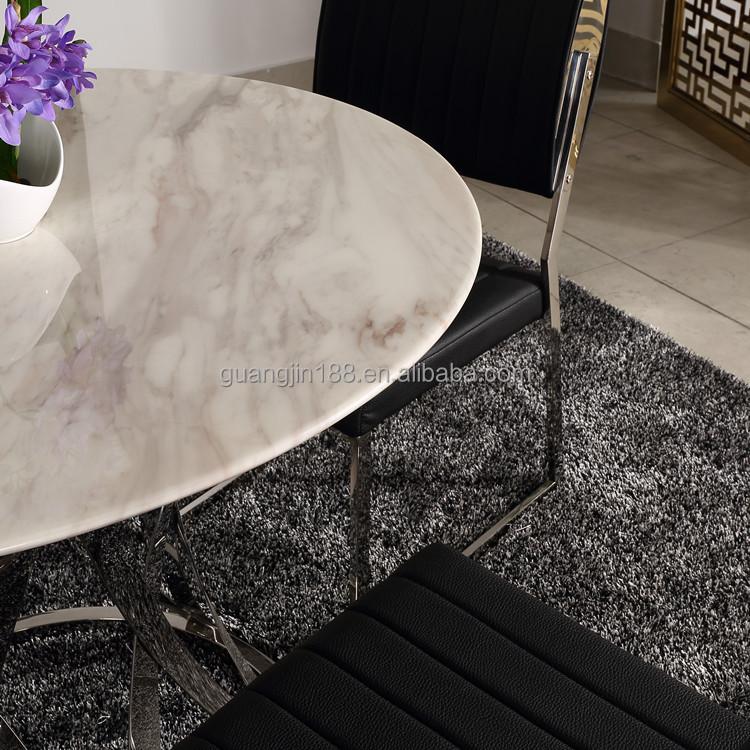 현대적인 스테인레스 스틸베이스 대리석 원형 식탁-금속 테이블 ...