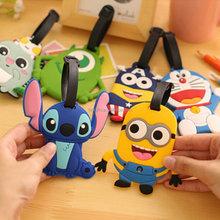 cartoon minions soft pvc luggage tag for kids