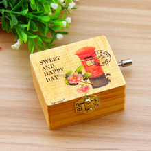 Antique style custom music box hand crank products for 2015/box shaped wedding favors music