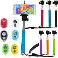 2015 hot sale monopod selfie stick Telescopic with bluetooth wireless remote mobile phone holder