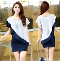 New Fashion Women's Irregular Sleeve Chiffon False Two-piece Mini Dress plus size 13751