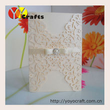 """Laser ideal products """"leaves shape"""" wedding cards luxury buckle wedding invitations"""