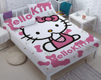 King Full Twin Queen size 3D Bed sheet suit cartoon hello kitty pink Printed Fabric Textile DIY Bed Sheets Pillowcase CD05