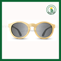 2014 Vintage 80s round Eco wooden sunglasses with polarzed len Bamboo wood sunglasses