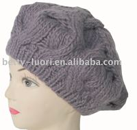 New design acrylic winter hat/ ladies hat/ knitted beret
