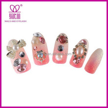 2015 Hot sell pink color alloy glitter 3d nails arts design decoration crystal jewelry