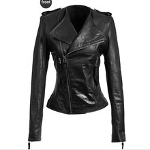 Best Sell Cheap Pure Black Leather Jacket Leather Tight Genuine Leather Jackets Women 2015