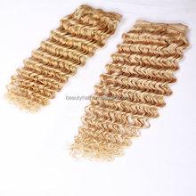 Alibaba factory price Honey blond Brazilian deep curl hair weaving