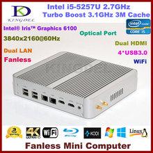 New product Intel i5 5257U Dual core windows7 windows8 windows10 Fanless mini pc x86 4K HTPC Metal Case