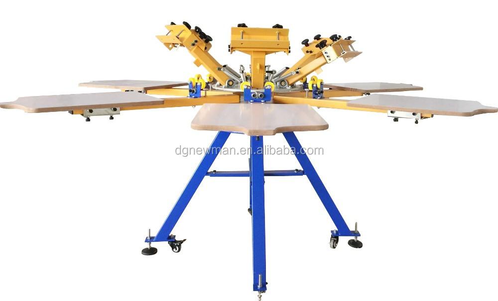 Factory supply nieuwe ontwerp 360 graden draaitafel 6 kleur 6 station rotatiezeefdrukmachine met - Buisvormige constructie ...