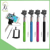 wired shutter remote Selfie stick/Wholesale Extendable Self Portrait Selfie Handheld Stick Monopod YM-PT16 Holder