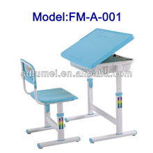 Plastic height adjustable children study table and chair
