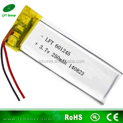 601245 single lipo cell 3.7v 250mah mp3 player battery with PCB
