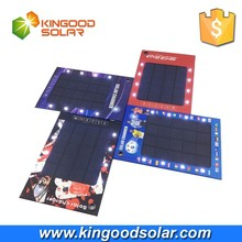 Paper solar panel charger 3W solar panel charger with 8pcs led lights