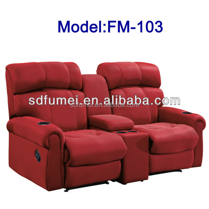 Double Seats Recliner Theater Sofa With Cup Holders - Buy Theater Sofa,Recliner Theater Sofa ...