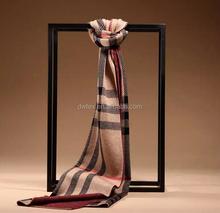 Wholesale wool plain weave striped men scarf long shawl