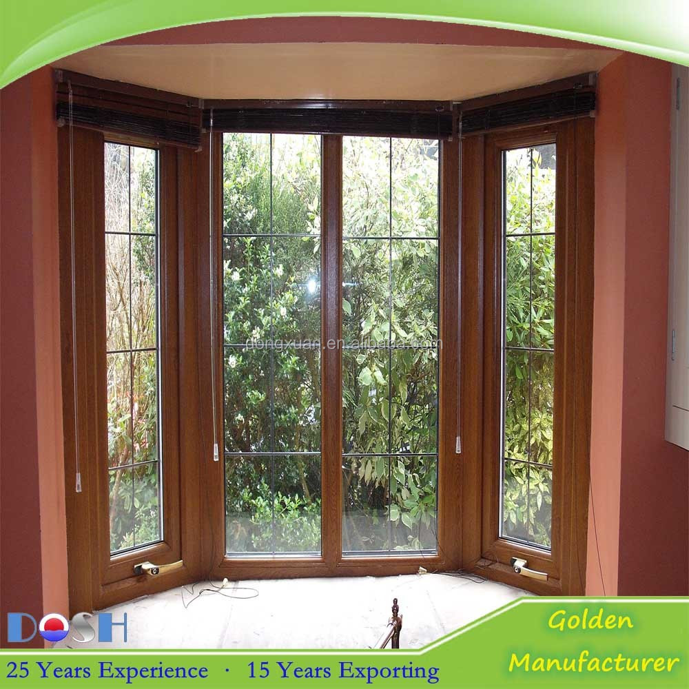 Brown Wooden Color Aluminum Arched Window With Grill