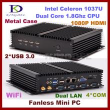Best price Intel celeron 1037U mini linux embedded pc 1080p with 4G RAM+32G SSD,COM+HD+LAN