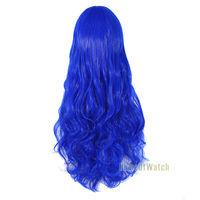 новый 32 дюймов длинный темный синий косплея кудрявые Парики женские 80 см