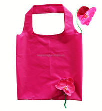 Fashion flower design cheap nylon foldable shopping bag