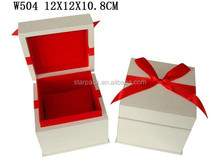 Luxury White Matt Finished Watch Wooden Packaging Box With Ribbon On top W504