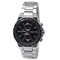 high quality curren 8011 men business style 3 colors full steel fashion military japan quartz watch