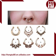 HT Hot Selling 316l Steel Nose Piercing Rings Jewelry Fake Nose Septum Clicker