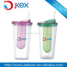 Plastic 3D straw Cup with lid