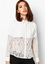 nuevo diseño de manga larga de bloque de encaje gasa blusa blanca