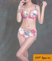 2015 sexy girl xxx bikini, 2 piece shivering flower printed beach swim suit,high waist bikini for lady