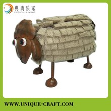 Sheep with metal and flax cloth For garden Decorations