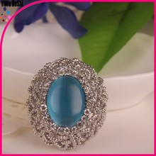 2015 popular hot selling fashionable Round shape crystal metal alloy finger ring