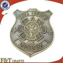 shield sharp metal bronze die casting badge