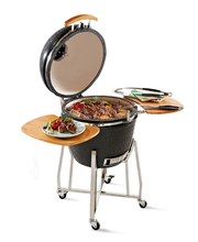 Ceramic Charcoal Kamado Clay Barbecue Grills Smokers with Stainless Steel Carts