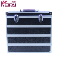 Small Size 4 Layers Pu Black Empty Lighting Makeup Case With Compartments