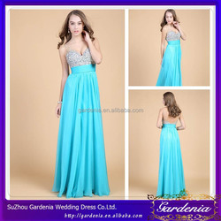 New Designers Elegant Sweetheart Neck Wide Straps Low Back Beaded Crystal A-line Floor Touching Blue Evening Dress in China