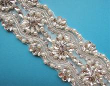 beaded rhinestone applique trim for wedding dresses WDD0057